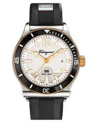 Ferragamo | Black '1898 Sport' Rubber Strap Watch for Men | Lyst