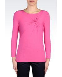 Armani - Pink Jersey Tshirt with Knot Detail - Lyst