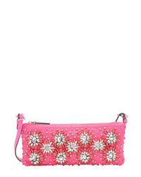 Valentino - Bright Pink Leather Floral Crystal Embellishment Shoulder Bag - Lyst