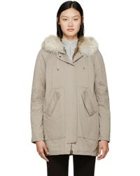 Army by Yves Salomon | Natural Taupe Fur-lined Parka | Lyst