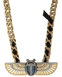 Lanvin | Metallic Luxor Winged Beetle Pendant Necklace | Lyst