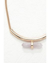 Forever 21 - Metallic Faux Stone Bar Pendant Necklace - Lyst
