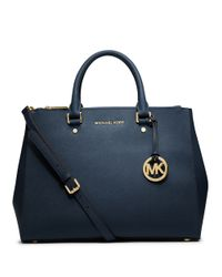 MICHAEL Michael Kors | Blue Sutton Saffiano Leather Large Satchel | Lyst