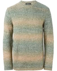 Roberto Collina - Green Striped Crew Neck Sweater for Men - Lyst