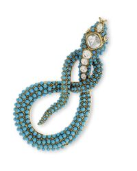 Kenneth Jay Lane | Blue Turquoise Dots Snake Brooch With Crystal Accents | Lyst