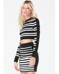 Bebe - Black Striped Crew Sweater Top - Lyst
