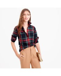 J.Crew | Black Petite Perfect Shirt In Stewart Plaid | Lyst