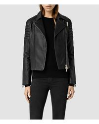 AllSaints | Black Alder Leather Biker Jacket Usa Usa | Lyst