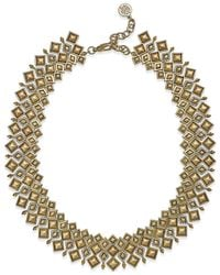 House of Harlow 1960 | Metallic Gold-tone Diamond-shaped Pavé Statement Necklace | Lyst