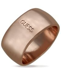 Guess | Pink Rose Gold-tone Logo Band Ring | Lyst