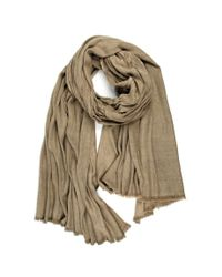 Michael Stars | Natural Viscose Scarf With Heavy Wash And Raw Edge Fringe | Lyst