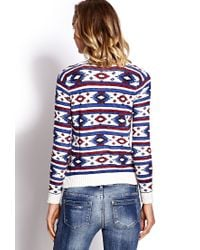 Forever 21 - Blue West Bound Sweater You've Been Added To The Waitlist - Lyst