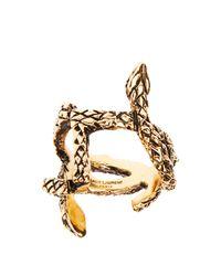Saint Laurent - Metallic Serpent Monogram Ring - Lyst