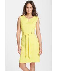 Ellen Tracy - Yellow 'kenya' Belted Sheath Dress - Lyst