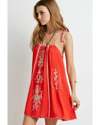 Forever 21 - Floral-embroidered Cami Dress - Lyst