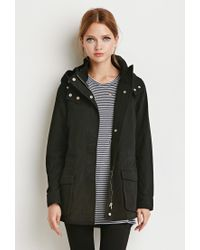 Forever 21 | Black Hooded Utility Jacket | Lyst