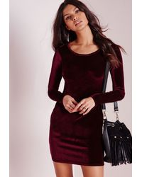 Missguided - Multicolor Tall Velvet Bodycon Dress Oxblood Red - Lyst