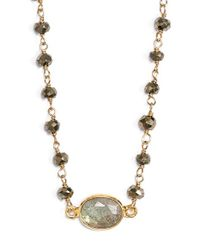 Ela Rae - Metallic Semiprecious Stone Collar Pendant Necklace - Lyst