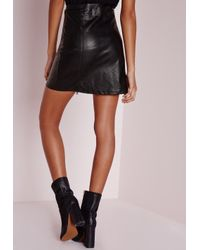 Missguided - Faux Leather Buckle Zip A Line Skirt Black - Lyst