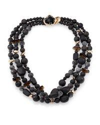 Alexis Bittar | Miss Havisham Liquid Black Onyx, Smoky Quartz, Lava Rock & Crystal Three-Strand Necklace | Lyst