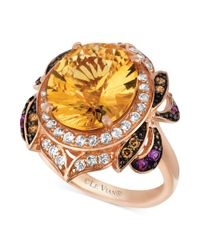 Le Vian   Multicolor Multi-stone (6-3/4 Ct. T.w.) And Chocolate Diamond (1/8 Ct. T.w.) Oval- And Round-cut Ring In 14k Rose Gold   Lyst