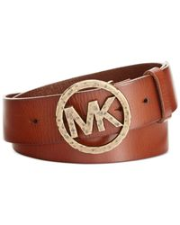 Michael Kors - Brown Michael Hammered Mk Logo Buckle Belt - Lyst