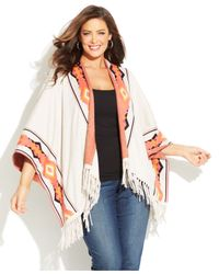 INC International Concepts - White Plus Size Border-Print Fringed Poncho - Lyst