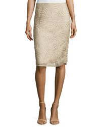 Lafayette 148 New York - Natural Circle-Pattern Slim Skirt - Lyst