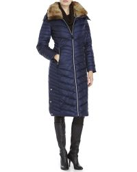 Marc New York | Blue Kate Faux Fur Collar Maxi Coat | Lyst