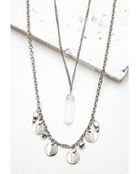 Forever 21 | Metallic Faux Crystal Necklace Set | Lyst