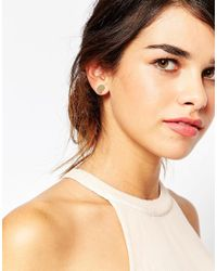 ASOS | Green Semi Precious Nugget And Pearl Front & Back Earrings | Lyst