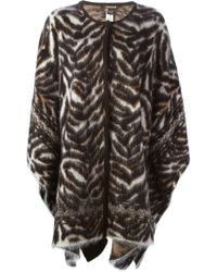 Roberto Cavalli | Black Tiger Print Knitted Poncho | Lyst