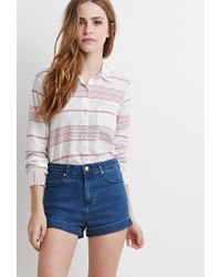 Forever 21 - Natural Contrast-striped Shirt - Lyst