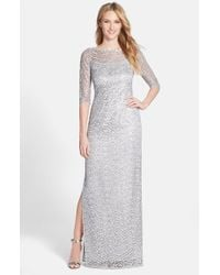 Kay Unger | Metallic Sequin Lace Colum Gown | Lyst