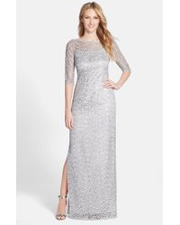 Kay Unger - Metallic Sequin Lace Colum Gown - Lyst