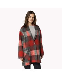 Tommy Hilfiger | Red Wool Blend Check Coat | Lyst
