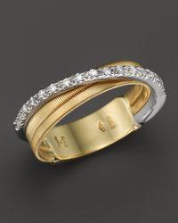 Marco Bicego | Metallic 18k Yellow Gold Goa Three Row Ring With Diamonds | Lyst
