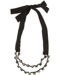 Ann Demeulemeester Blanche | Black Crystal and Ribbon Bracelet | Lyst