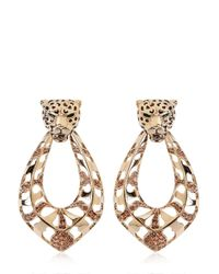Roberto Cavalli - Metallic Topaz & Gold Plated Leopard Earrings - Lyst