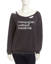 Chaser - Distressed Graphic Long-Sleeve Top in Black - Lyst