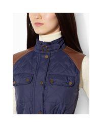 Ralph Lauren | Blue Faux Leather–trim Vest | Lyst