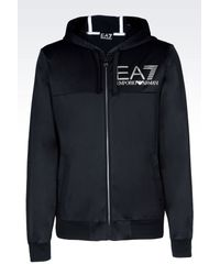 EA7 - Blue Visibility Line Full Zip Hooded Sweatshirt for Men - Lyst