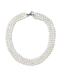 Lord & Taylor | White Sterling Silver Three Strand Pearl Necklace 5.5 6mm | Lyst