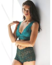 Free People - Green Galloon Lace Deep V Bra - Lyst