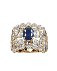Effy | Blue Royale Bleu Sapphire And Diamond Ring In 14 Kt. Yellow Gold | Lyst