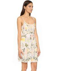 Needle & Thread - Yellow Embroidered Chiffon Prom Dress - Lyst