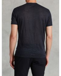 John Varvatos - Blue Jersey Trim Short Sleeve Henley for Men - Lyst