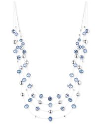 Nine West   Silver-tone Blue Bead Illusion Necklace   Lyst