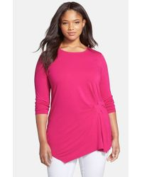 Vince Camuto | Pink Side Pleat Asymmetrical Top | Lyst