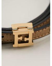 Fendi - Black Logo Buckle Bracelet - Lyst